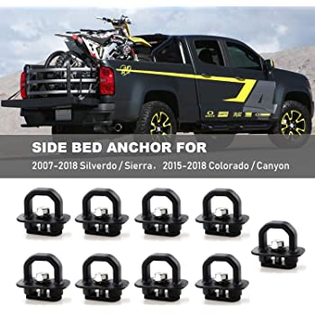 3 Down Each Side 2015-2019 Colorado /& Canyon Retractable Truck Bed Side Wall Tie Down Anchors Fits in 9 Holes in Bed 3 Across The Front 4332990793 Bull Ring 1001-9 Pack for 2007-2019 Silverado /& Sierra