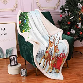 Christmas Lamb Velvet Santa Snow Covered Christmas Village with Cartoon Santa on His Sleigh Big Tree and Boxes Autumn and Winter Thick Blanket Twin Size Multicolor