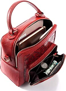Brenice Retro Embossed Flower Handbag Casual Multi-function Vintage Shoulder Bag