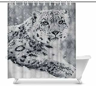 INTERESTPRINT Snow Leopard in Snow Storm Cool Animal Home Decor Waterproof Polyester Bathroom Shower Curtain Bath with Hooks, 72(Wide) x 84(Height) Inches