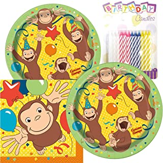 """Curious George Birthday Party Pack – Includes 7"""" Paper Plates & Beverage Napkins Plus 24 Birthday Candles – Serves 16"""