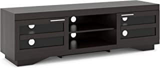 Sonax TGR-700-B Granville Mocha Black Wood Veneer TV Stand Component Bench Media Storage Unit, For TVs Up To 80