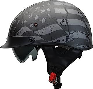 Vega Helmets 7817-053 Unisex-Adult Vega Warrior Half Helmet (Patriotic Flag Graphic, Medium)