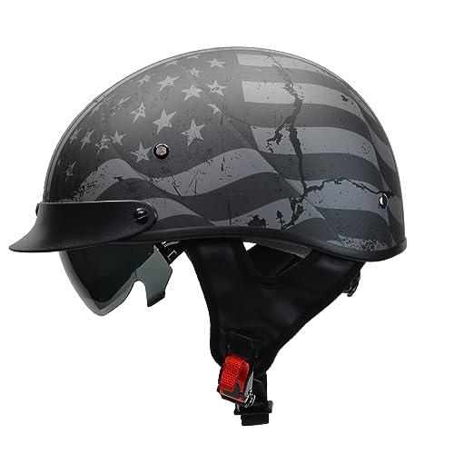 632fc02c6cd Vega Helmets Warrior Motorcycle Half Helmet with Sunshield for Men   Women