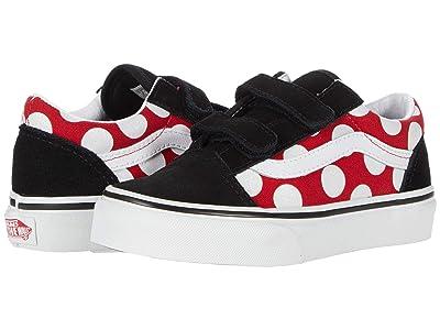 Vans Kids Old Skool V (Little Kid) ((Polka Dot) Red/True White) Girls Shoes