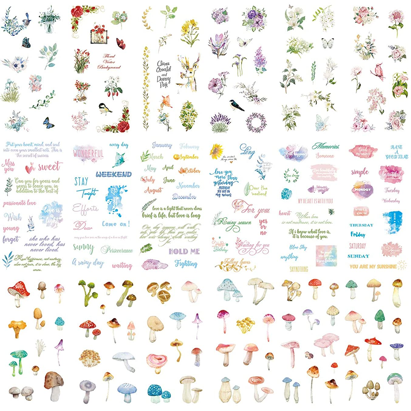 Cute Washi Paper Stationery Sticker Set (Assorted 18 Sheets) Floral Flower English Letter Greetings Colorful Mushroom Kawaii Stickers Decoration Label for Journal Planner Scrapbooking Album Diary Book