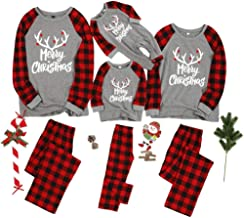 Matching Family Pajamas Sets Merry Christmas Letter Printed PJ's with Plaid Long Sleeve Tee and Pants Loungewear