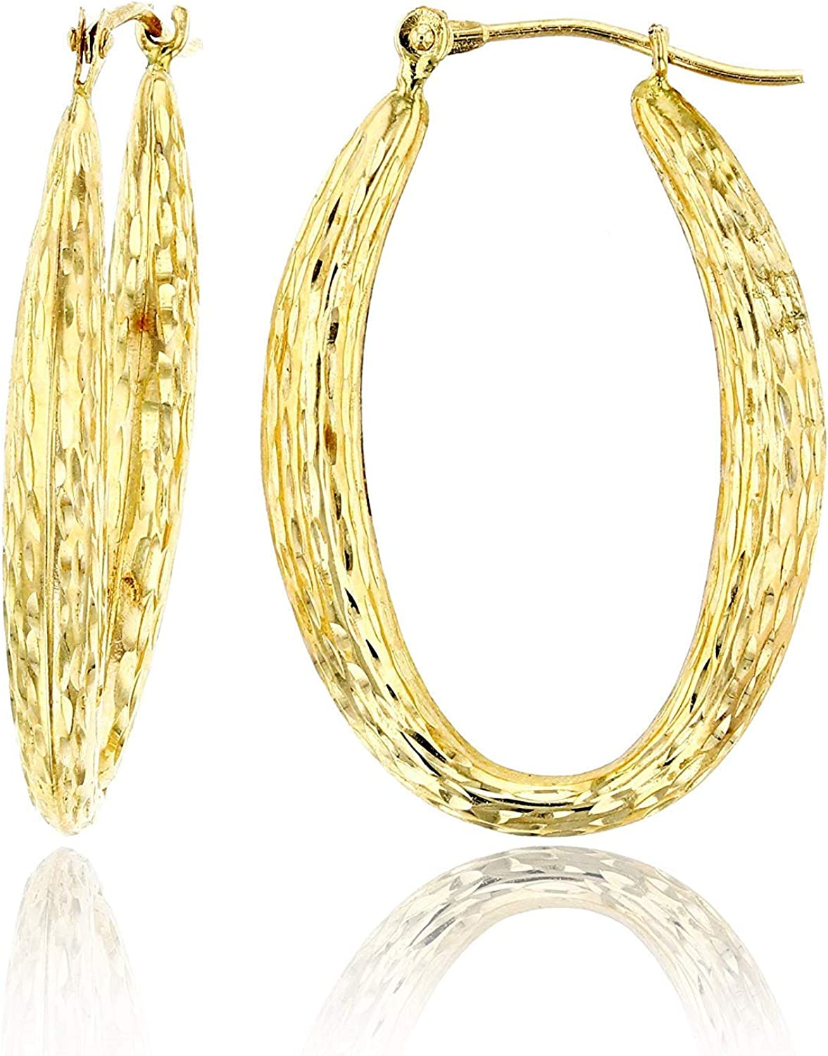14K Yellow Gold High Polished Oval Hoop Earrings with Hinged Clasp | Various Sizes & Design | Yellow Gold Hoops | Solid 14k Gold Earrings Gold For Women and Girls