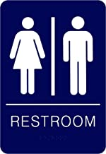 Unisex Braille Restroom Sign Blue - Bathroom Sign with Double Sided 3M Tape