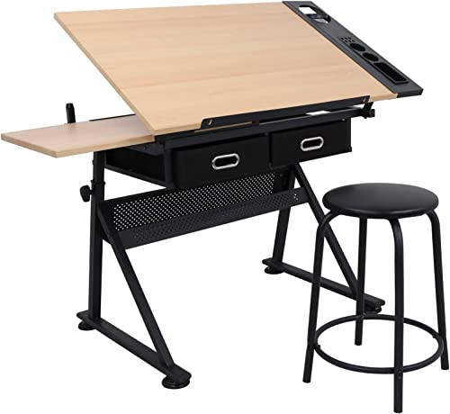 ZENY Height Adjustable Drafting Draft Desk Drawing Table Desk Tiltable Tabletop w/Stool and Storage Drawer for Readin...