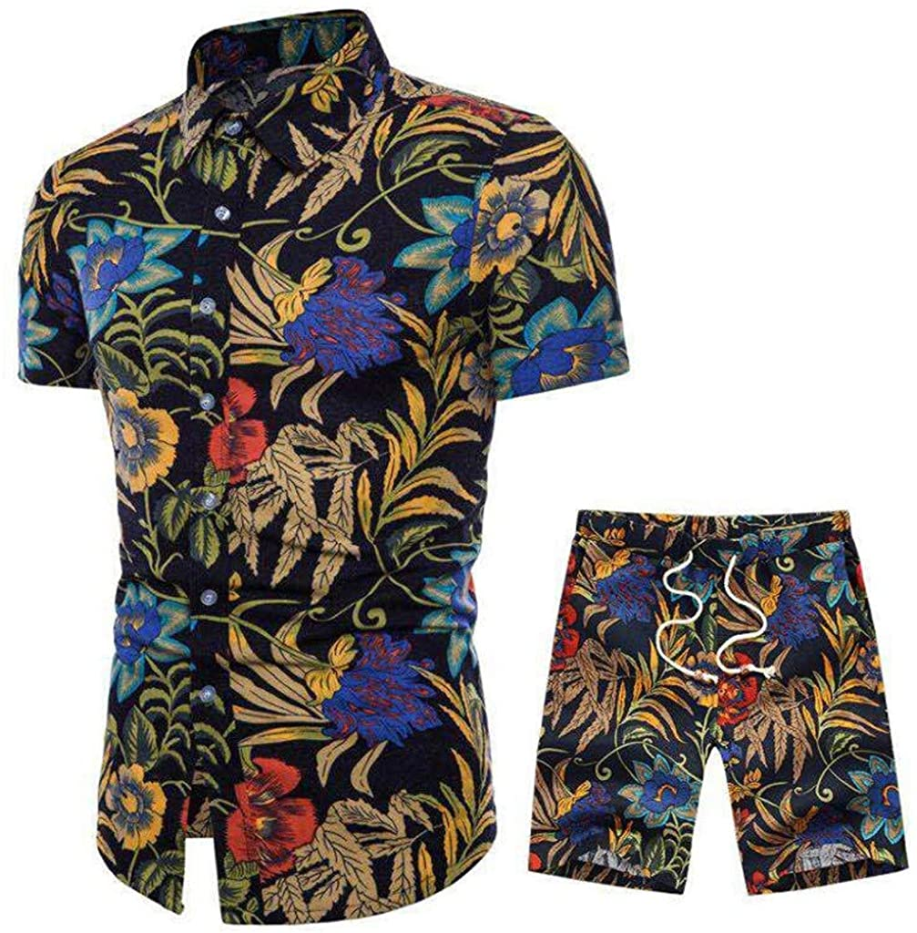 Men Shirt Beach Shorts 2 Piece Outfit Summer African Floral Print Button Down Shirts and Trunks Casual Tracksuit