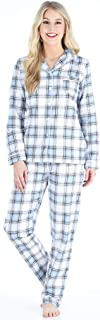 Image of Blue Plaid Flannel Pajamas for Women