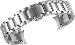 Watch Bracelets High-End Stainless Steel Solid Links Curved End