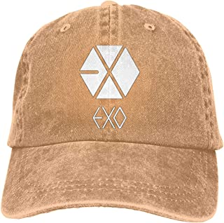 562ceb703eb DADAJINN Exo Logo Adjustable Running Cotton Washed Denim Hat Black