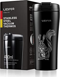 Leidfor Coffee Travel Mug Tumbler Double Wall Vacuum Insulated Stainless Steel Thermos Cup Leakproof Flip Lid Keep Hot Cold 16-Ounce Black Squirrel