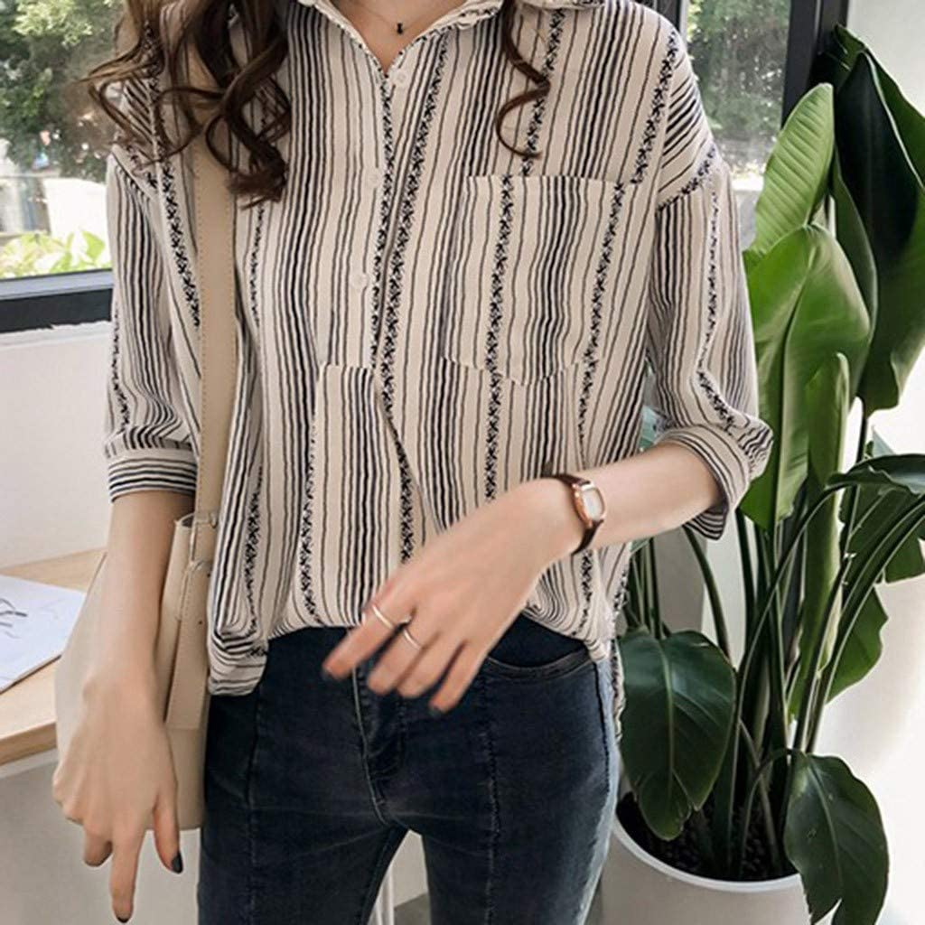 Womens Half Sleeve Front Pocket Button Blouse Shirts Summer Casual Stripes Print Blouse Tops