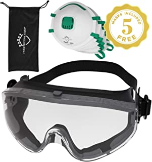 Safety Goggles Over Prescription Glasses Clear Anti Fog Safety Glasses Eye Protection For Chemistry Lab Splash Proof, Construction, Woodworking Multiuse ANSI Z87.1 Approved N95 Safety Masks Included