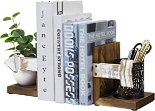 MyGift Rustic Whitewashed Arrow Design & Burnt Dark Brown Wood Tabletop Bookend Support Stands, Set of 2