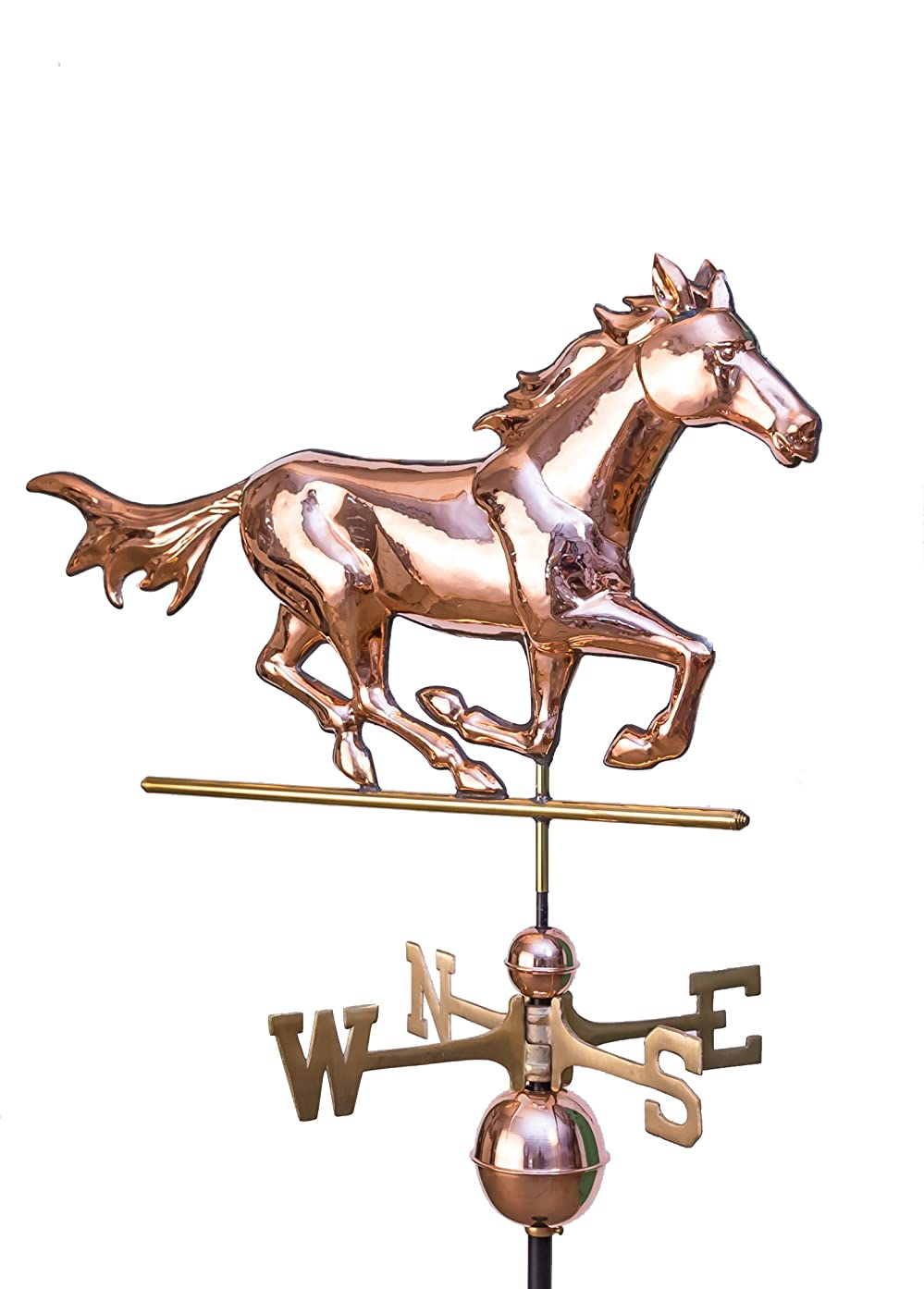 East Coast Weathervanes and Cupolas Running Horse Weathervane Polished Copper
