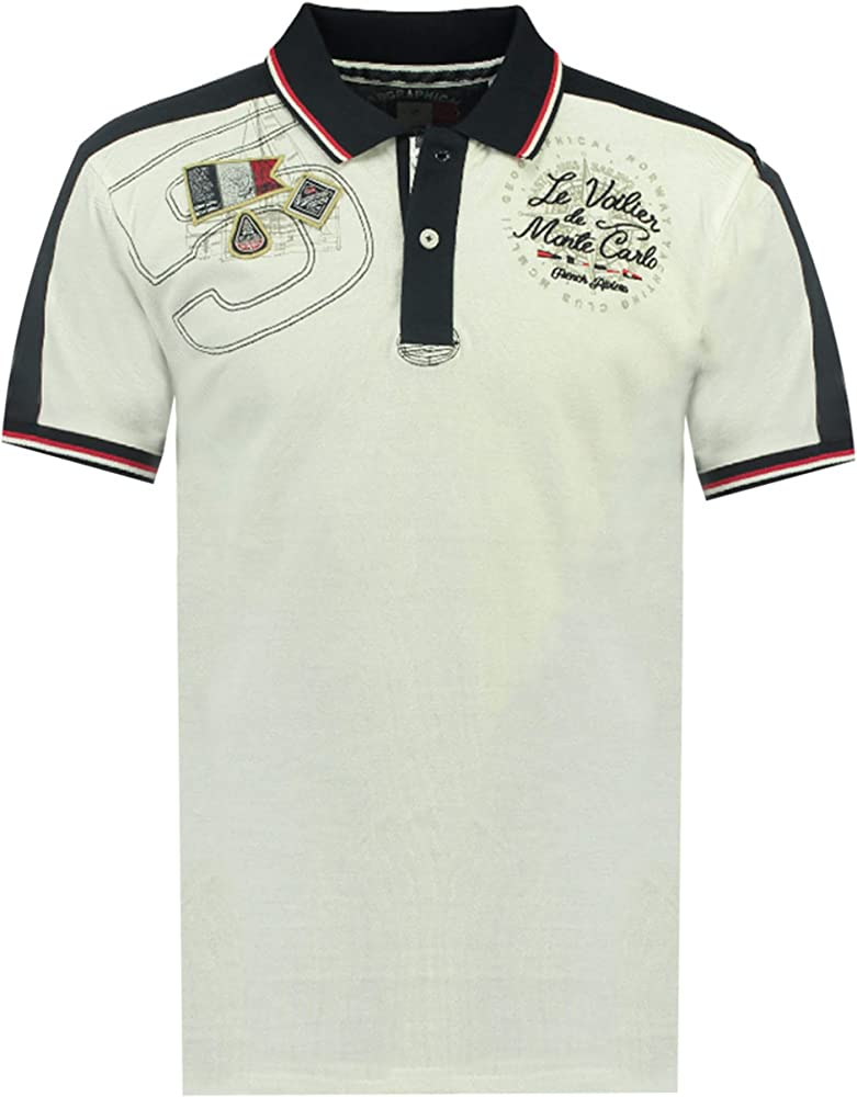 Geographical norway kalvin men, polo,maglietta da uomo con stampa classica, 100 % cotone, a maniche corte SR177H/BN