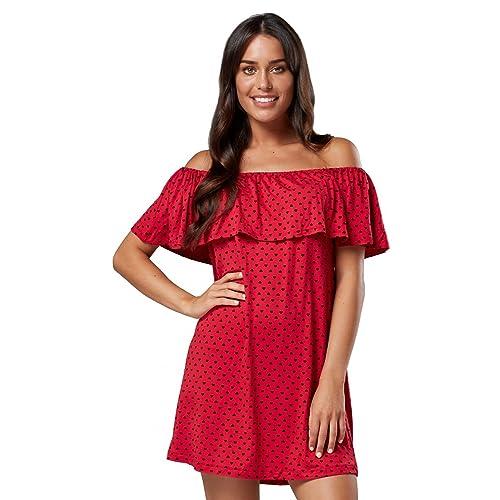 1c87fc5ff8b39 Zeta Ville - Women's Skater Dress Double-Layer Design Elastic Bardot Neck -  624z