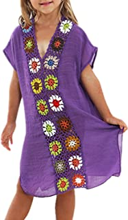 Kids Girls Swimsuit Beach Cover-up Crochet V-Neck Swim Dress