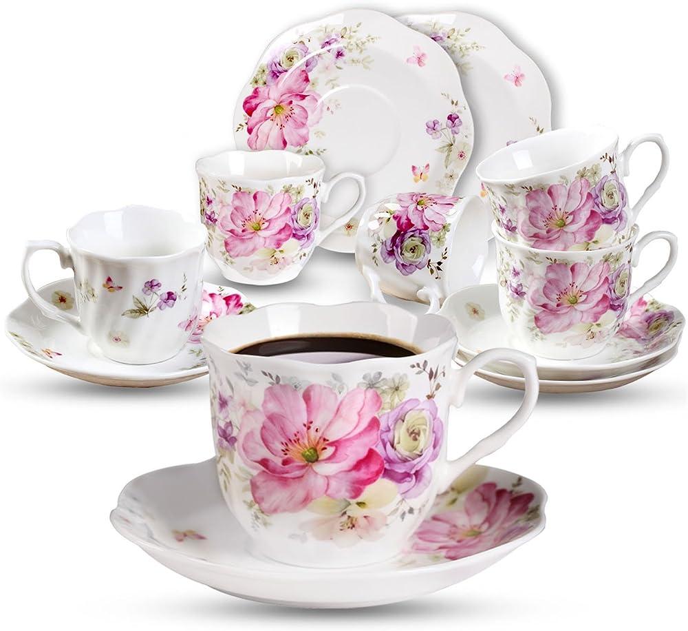 Set da 6 tazzine da  caffe` , in porcellana