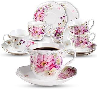 comprar comparacion Porcelana Juegos de Café Taza de 7oz - Regalo de Vacacione Racimo De Flores Impreso Set de Tazas de Té Nueva Porcelana de ...