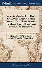 Note remise a Son Excellence Claude, Louis, Francois, Regnier comte de Guerchy, ... Par ... Charles, Génevieve [sic], Louis, Auguste, César, André, Timothée, d'Eon de Beaumont. ...