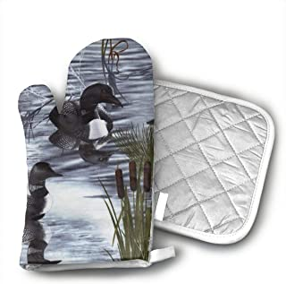 Wiqo9 Loons Duck Animal Oven Mitts and Pot Holders Kitchen Mitten Cooking Gloves,Cooking, Baking, BBQ.