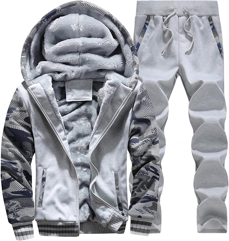 WoCoo Mens 2 Piece Fuzzy Sherpa Jacket Outfits Long Sleeve Fluffy Fleece Hoodies Overcoat & Pants Plus Size Thicken Sportwear