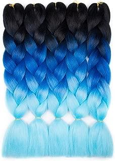 Alissa Jumbo Braiding Hair Extensions High, Black-Blue-Azure, Size 24