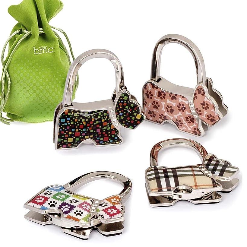 BMC 4pc Theme Designed Shoulder Handbag Folding Purse Holder Hangers Hooks Set
