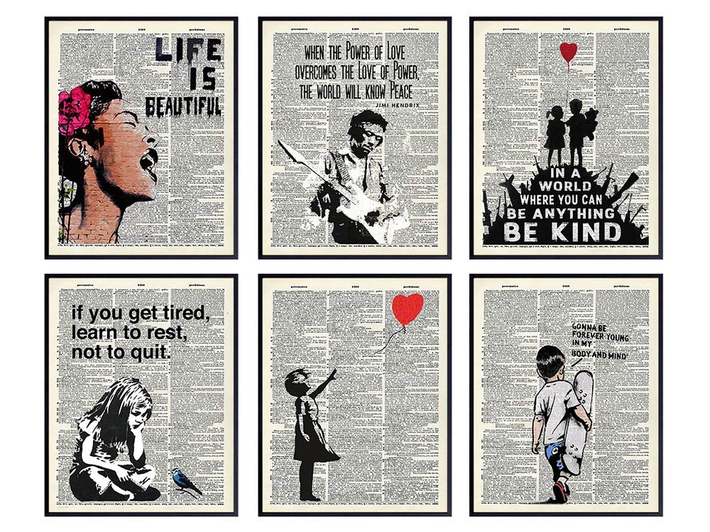 Banksy Wall Art Set - Inspirational Quotes Room Decor - Motivational Graffiti Street Art for Teens Bedroom, Living Room, Dorm - Set of 6-8x10 each Poster Picture Prints Home Decoration