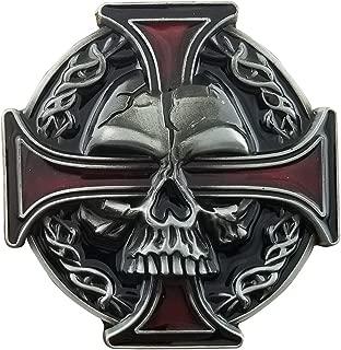 QUKE Vintage Skull Skeleton Celtic Cross Belt Buckle American Western Cowboy For Men