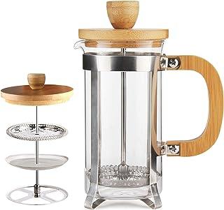 قهوه مطبوعاتی فرانسوی قهوه / چای ساز 12OZ توسط Sivaphe Espresso Press Milk Frough با 18/8 فیلتر استیل ضد زنگ 350ML High Borosilicate Carafe بادوام بامبو بادوام