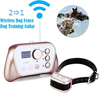 JUSTPET Wireless Dog Fence Training Collar 2-in-1 System, Stable Signal Wireless Pet Fence, Tone/Vibrate/Shock Remote Collar, Rechargeable Waterproof Collar