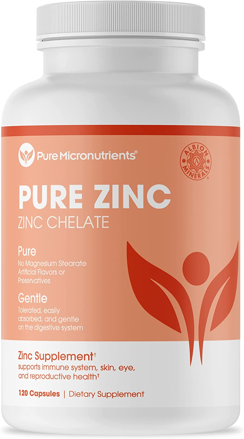 Pure Zinc Supplement, Natural Zinc Glycinate Supplements, (Chelated) 25mg, 120 - Pure Micronutrients: Health & Personal Care