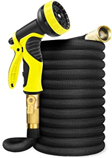 Aterod 50FT Garden Hose Expandable Hose, Flexible Water Hose with Spray Nozzle, Car Wash Hose with Solid Brass Connector, ...