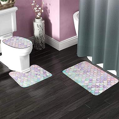 Iridescent Mermaid Pastel and Gold Toilet Bathmats Carpet Memory Foam Non-Slip Bath Rugs Toilet Seat Cover Lid Pedestal Rug L