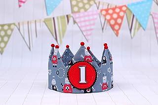 Corona de tela para cumpleaños niños, decoración primer