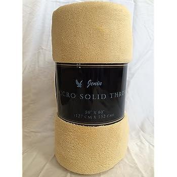 "Ultra Soft Cozy Plush Fleece Warm Solid Colors Traveling Throw Blanket 50"" X 60"" (127 cm X 152 cm) (Gold)"