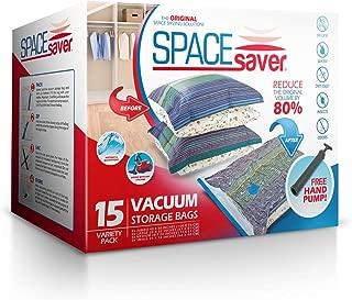 Spacesaver Premium Vacuum Storage Bags (3 x Small, 4 x Medium, 4 x Large, 4 x Jumbo), 80% More Storage Than Leading Brands, Free Hand Pump for Travel! (Variety 15 Pack)