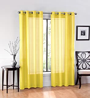 Ruthy's Textile 2 Piece Voile Window Sheer Curtains Grommet Panels for Bedroom Decor & Living Room, Size 54