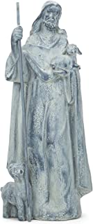 Dicksons Jesus Shepherding His Flock 15 inch Gray Resin Stone Garden Statue