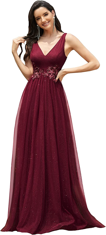 Ever-Pretty Women's Elegant Double V Neck Appliqued Sequin Tulle Maxi Formal Dress 0789