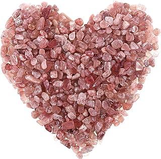 Hilitchi Quartz Stones Tumbled Chips Stone Crushed Crystal Natural Rocks Healing Home Indoor Decorative Gravel Feng Shui Healing Stones (About 1lb(450g)/Bag) (Strawberry Quartz)