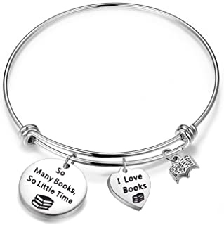 FEELMEM Book Lover Gifts Love Books Bracelet So Many Books So Little Time Reading Bangle Literary Jewelry Writers Author Student Librarian Gift