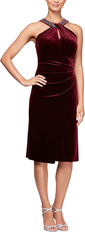 Alex Evenings Womens Short Velvet Shift Dress with Beaded Halter Neck Cocktail Dress
