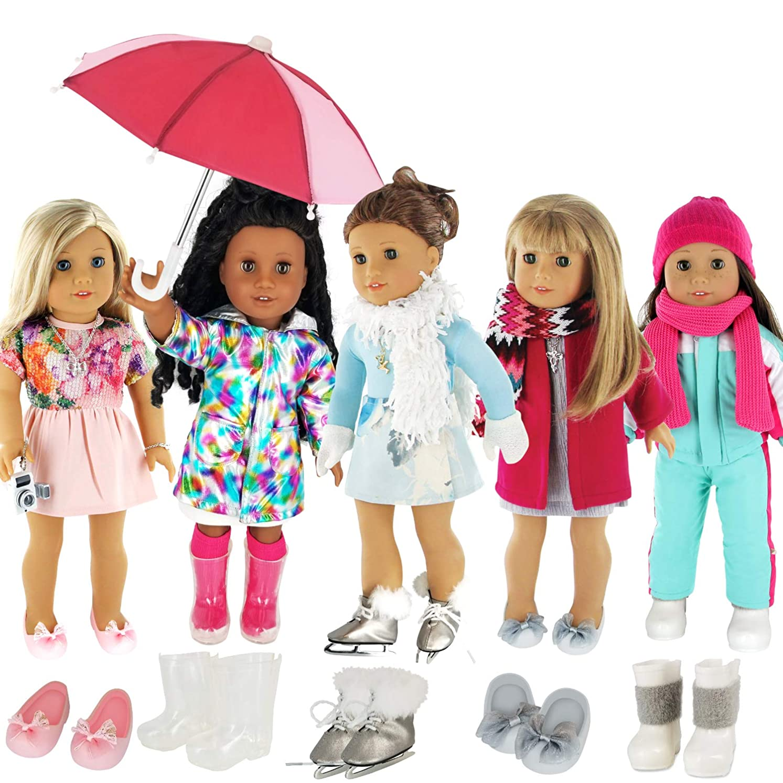 困惑インタフェース吐き出すPZAS Toys 5-Pack Holiday and Winter Outfit Set for 18-Inch American Girl Doll